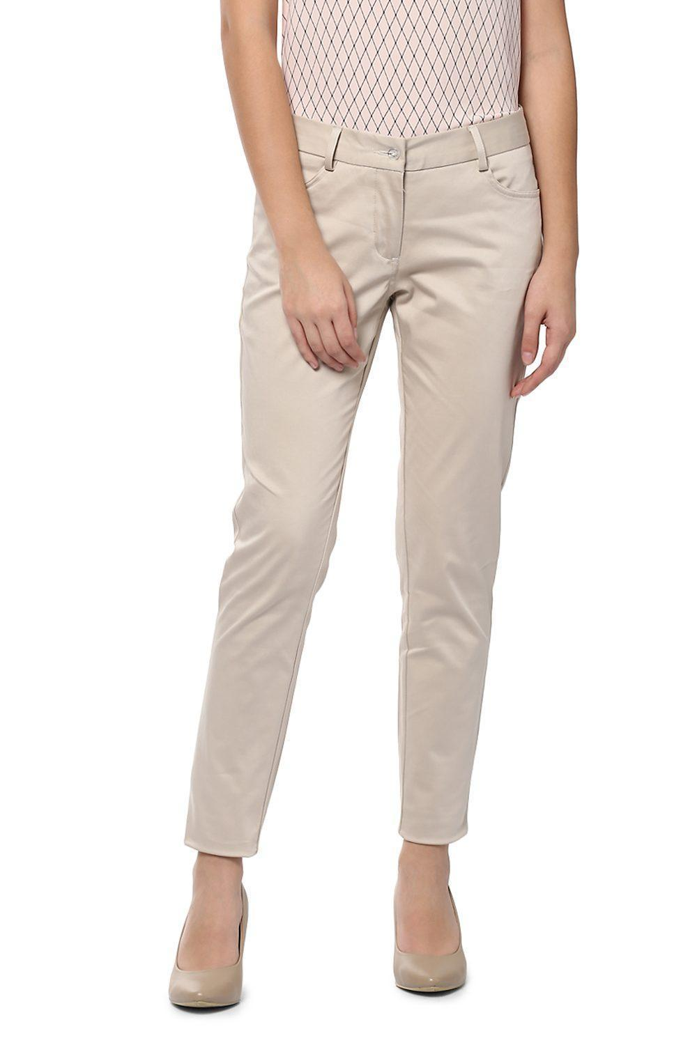 2089fffc8cbf69 Solly Trousers & Leggings, Allen Solly Beige Trousers for Women at  Allensolly.com