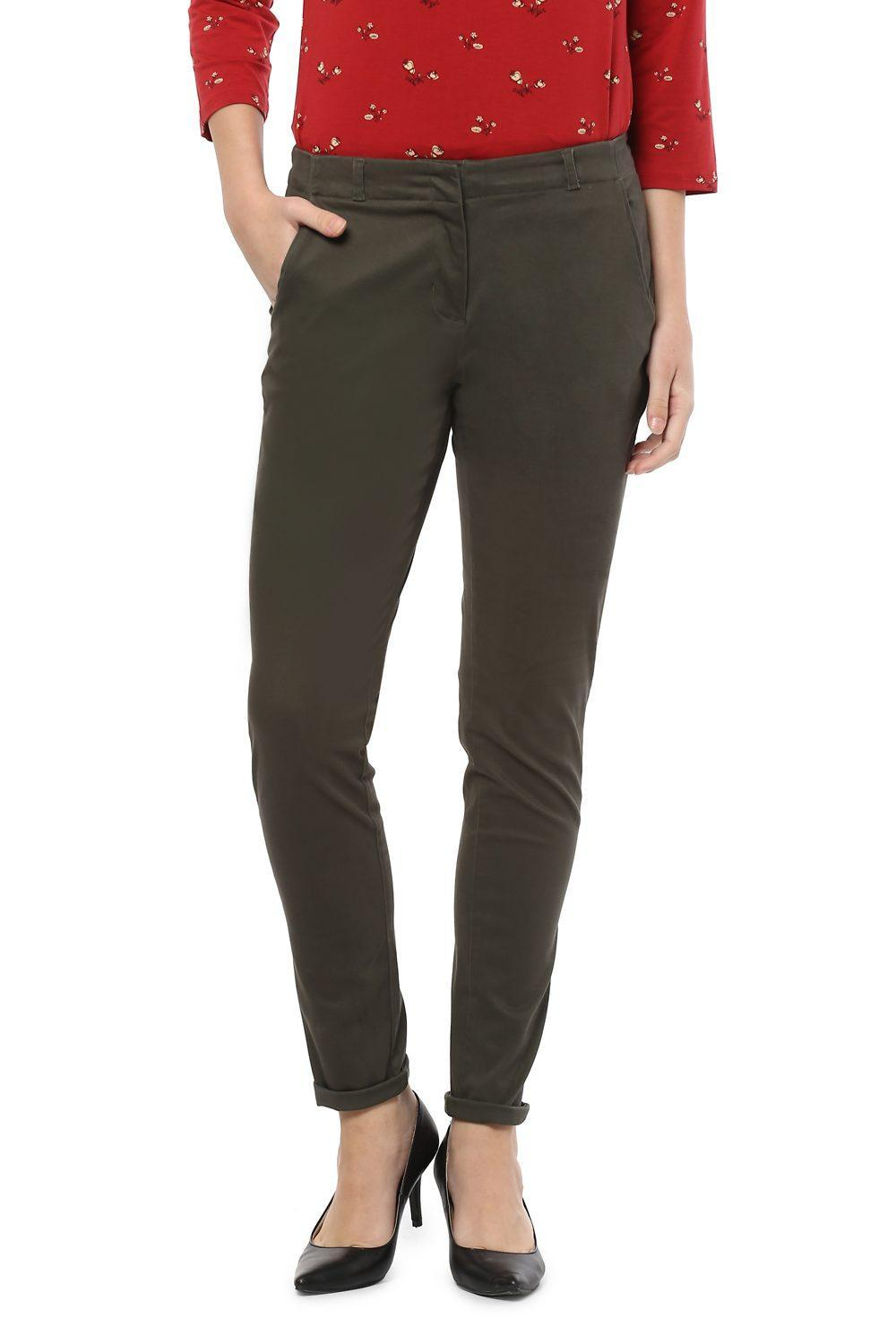 f91db40f81e1dd Solly Trousers & Leggings, Allen Solly Olive Trousers for Women at  Allensolly.com