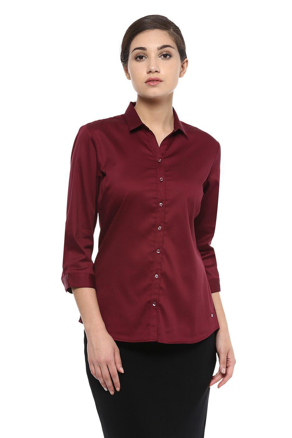 11edce93a6 Solly Shirts & Blouses, Allen Solly Maroon Shirt for Women at ...