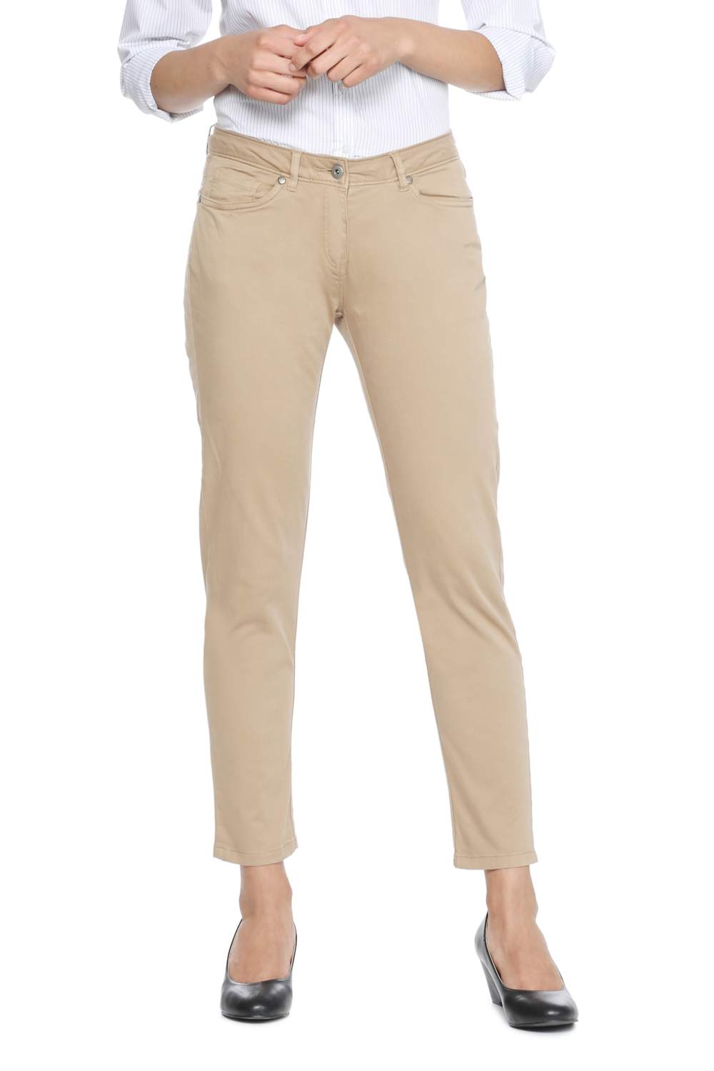 0eb862ccffe8f2 Solly Trousers & Leggings, Allen Solly Khaki Trousers for Women at  Allensolly.com