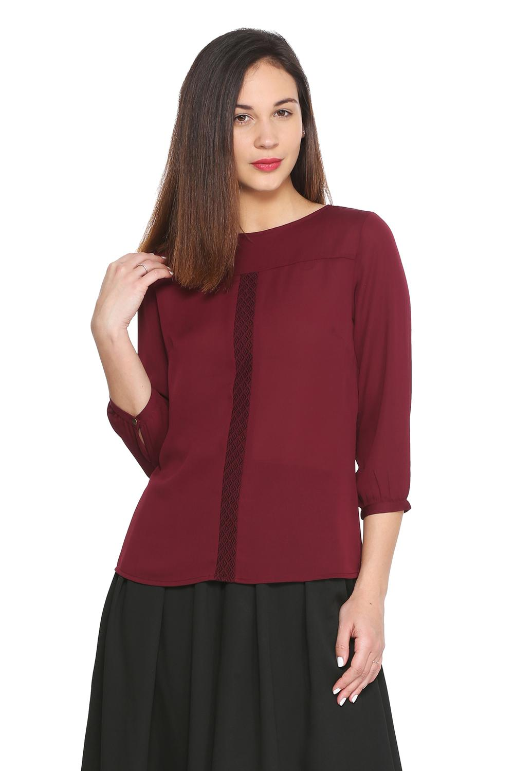 5134b8aabbb4e1 Solly Tees & Tops, Allen Solly Maroon Top for Women at Allensolly.com