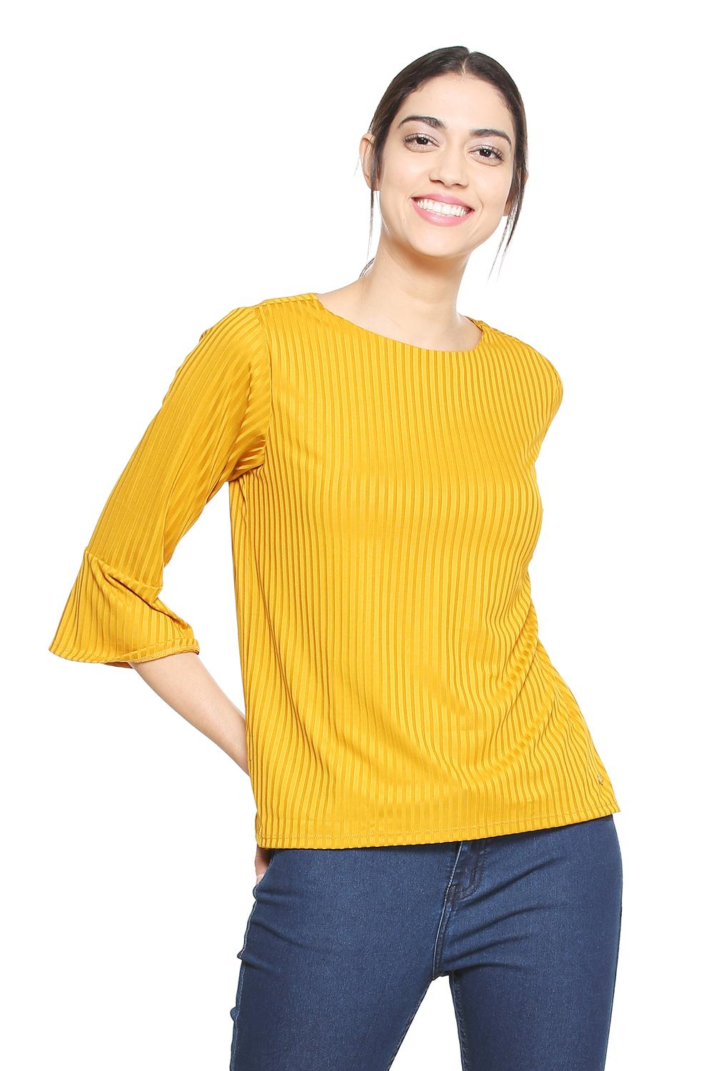 3968f431 Solly Tees & Tops, Allen Solly Yellow Top for Women at Allensolly.com