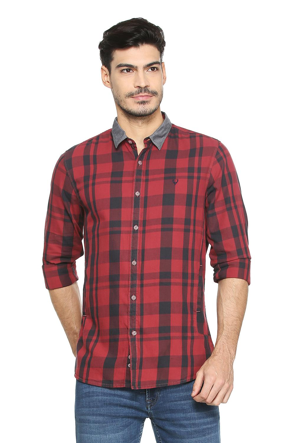 566888315 Solly Jeans Co Shirts, Allen Solly Maroon Shirt for Men at Allensolly.com