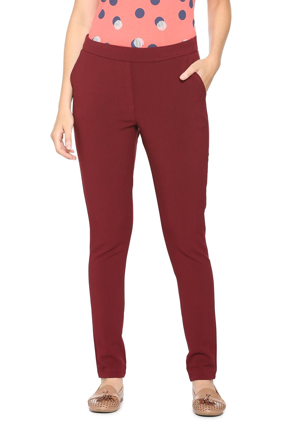 f89527c4f841b4 Solly Trousers & Leggings, Allen Solly Maroon Trousers for Women at  Allensolly.com