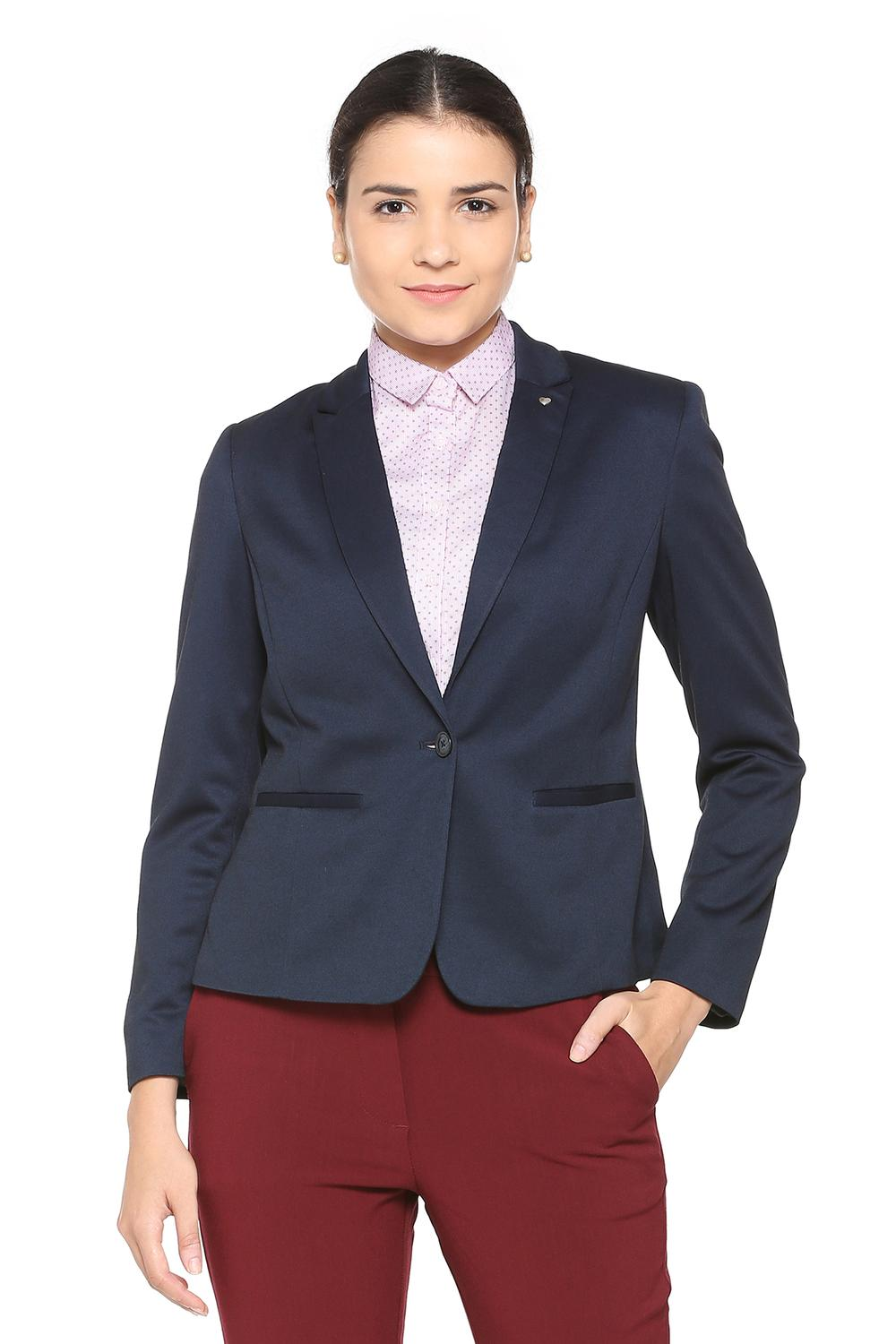 9b65a621f7d69 Solly Suits & Blazers, Allen Solly Blue Blazer for Women at Allensolly.com