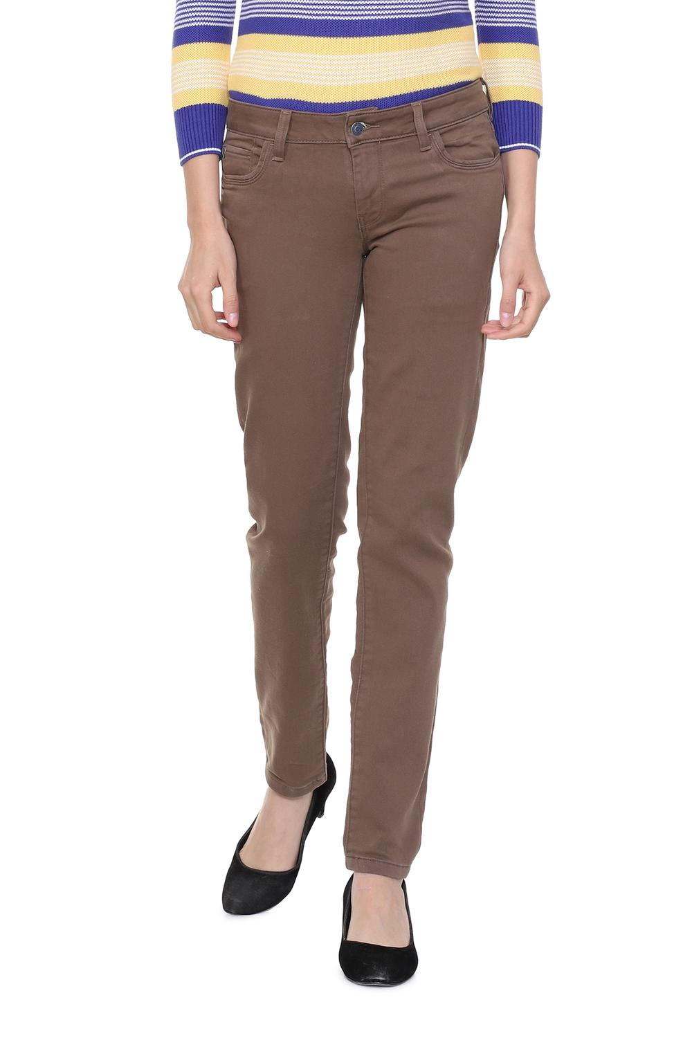Solly Jeans Jeggings Allen Solly Brown Jeans For Women At Allensolly Com