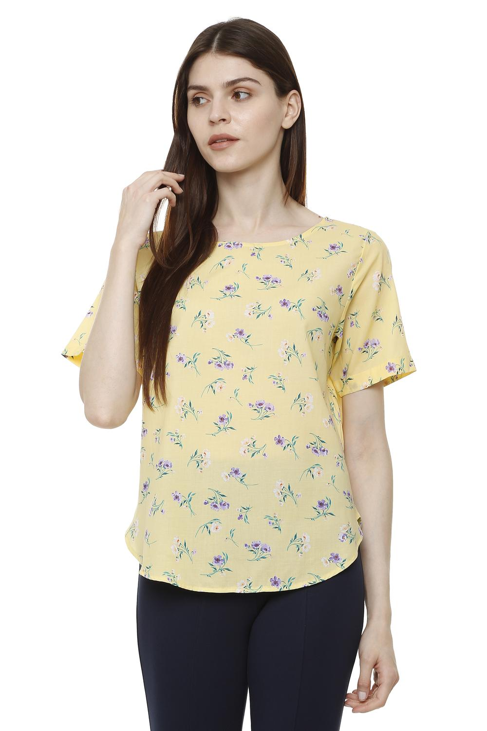 98e78d6d7708a Solly Tees & Tops, Allen Solly Yellow Top for Women at Allensolly.com