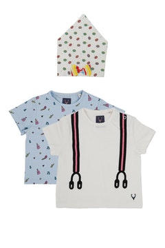 Allen Solly Blue Pack of Two T shirts and Neck Bib