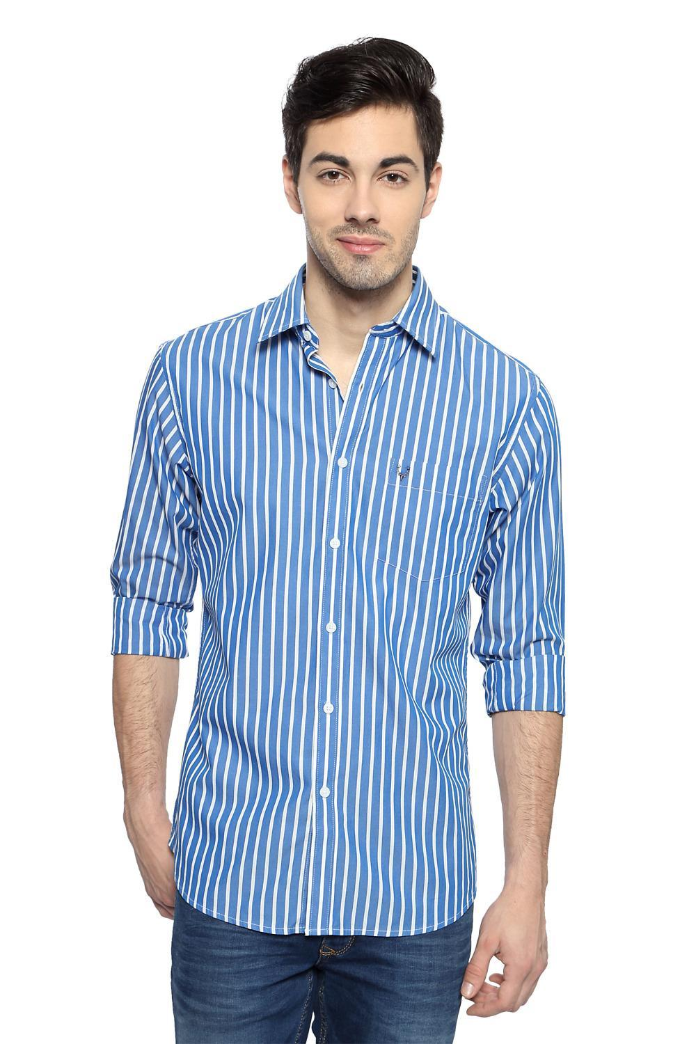 31b88738b26c3d Allen Solly Shirts, Blue Striped Semi Formal Shirt for Men at Allensolly.com