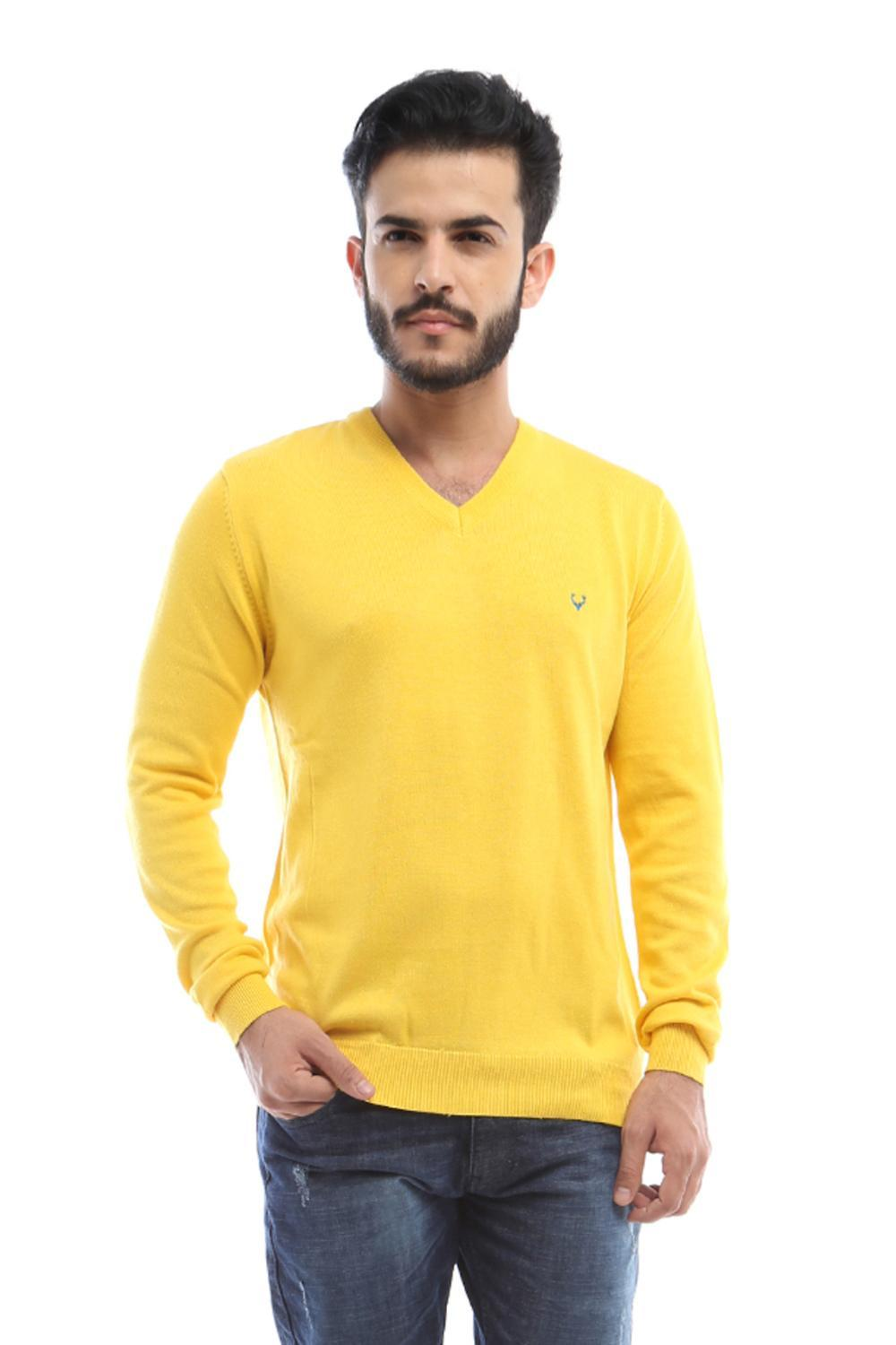 Solly Sport Sweaters, Allen Solly Yellow Sweater for Men at Allensolly.com